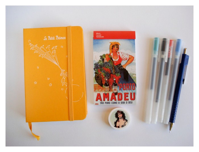 My diary, a notebook and my favourite pens