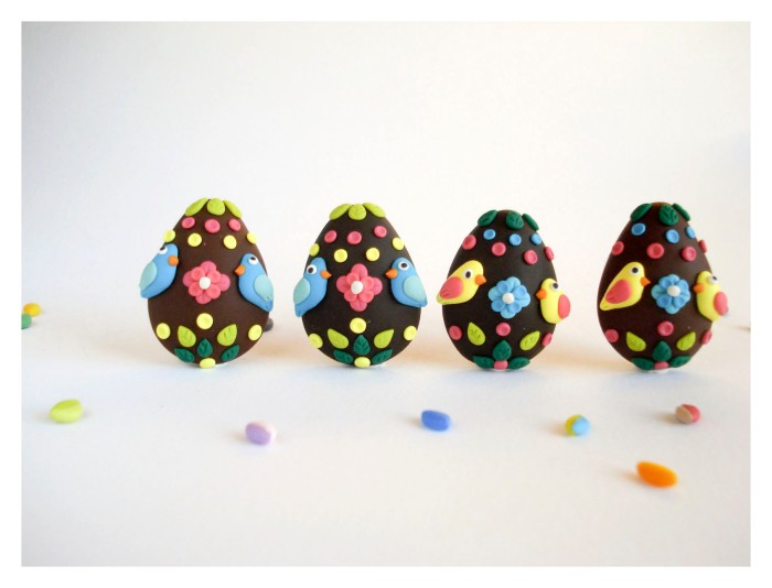 Easter Eggs Brooches with Birds and Flowers
