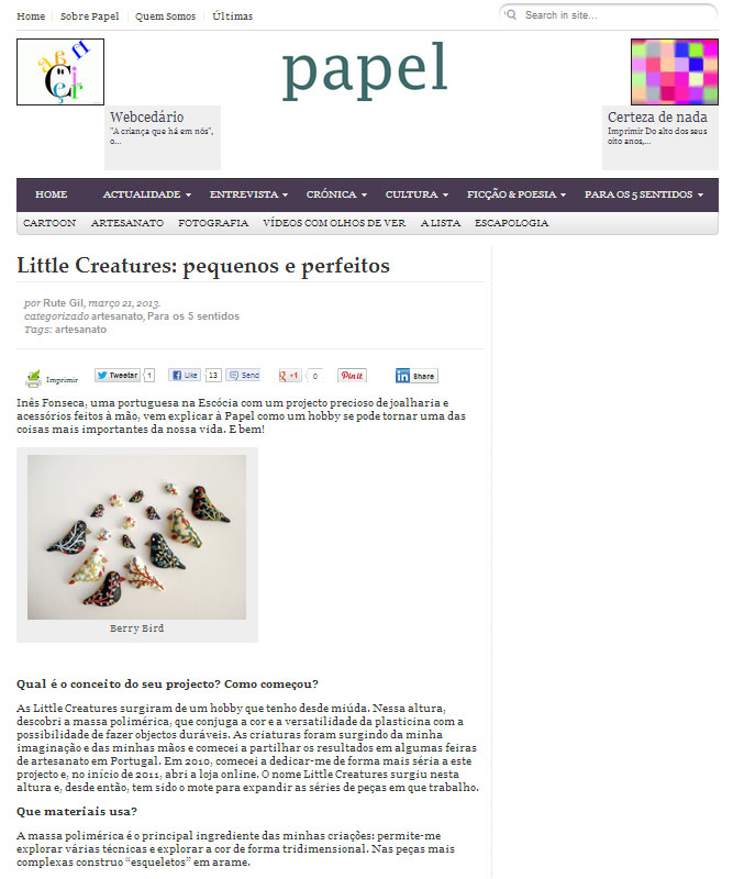 The Liittle Creatures at Papel on-line magazine