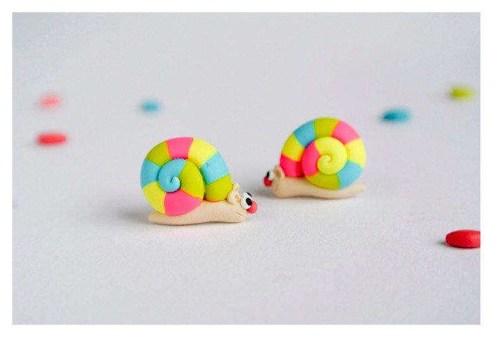Rainbow Snails post earrings