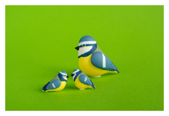 Blue tit. Polymer clay brooch and earrings