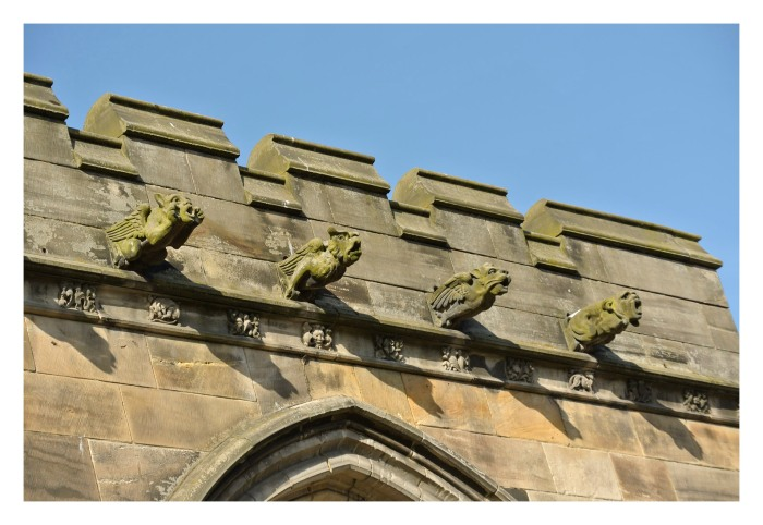 Gargoyles on the south wall of the Hole Trinity Church in St. Andrews