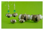 Koala series, including dangle earrings, post earrings, brooch and pendant