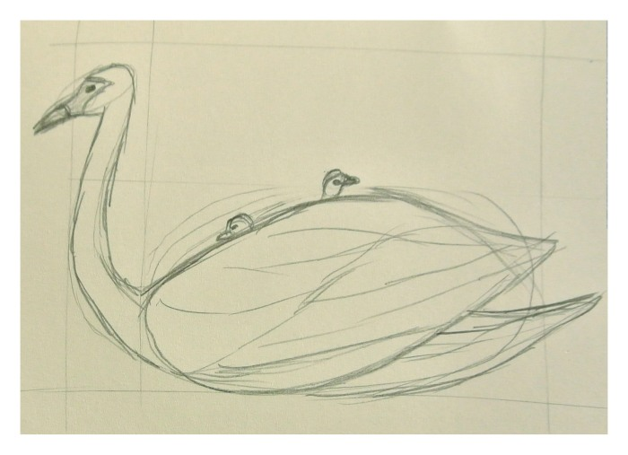 Sketching the idea. I ended up not including the cygnets.
