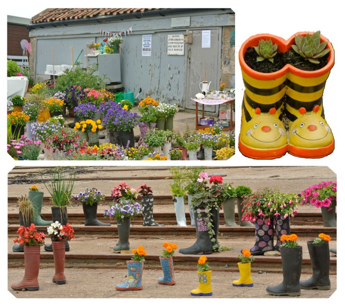 A garden made with wellies. I couldn't resist all the color and cuteness :)