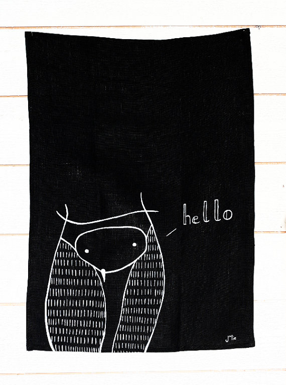 Owl Hello towel, tea towel, by Julie Lebailly. Image credits by Julie Lebailly