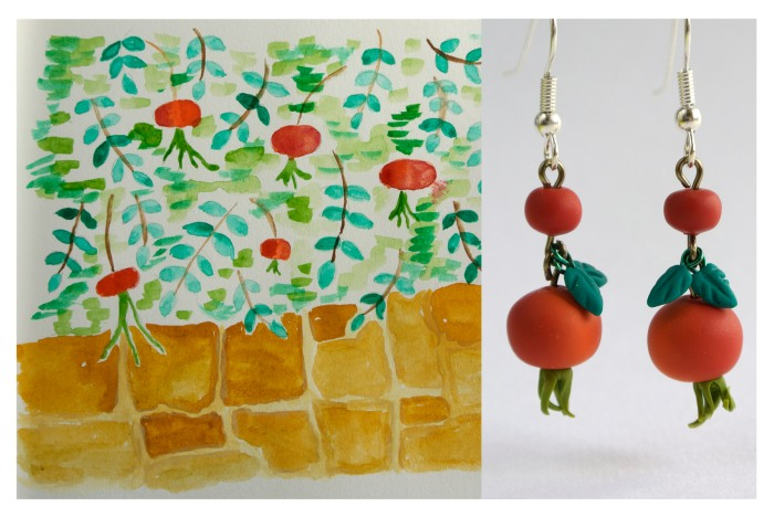 Rosehip dangle earrings and watercolor illustration