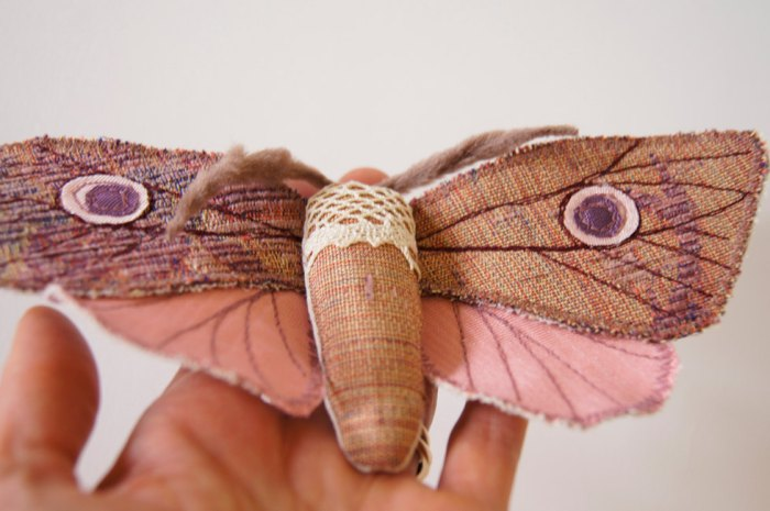 Eyespot Moth, soft scupture brooch by Laura Jacquemond Image Credits by  by Laura jacquemond