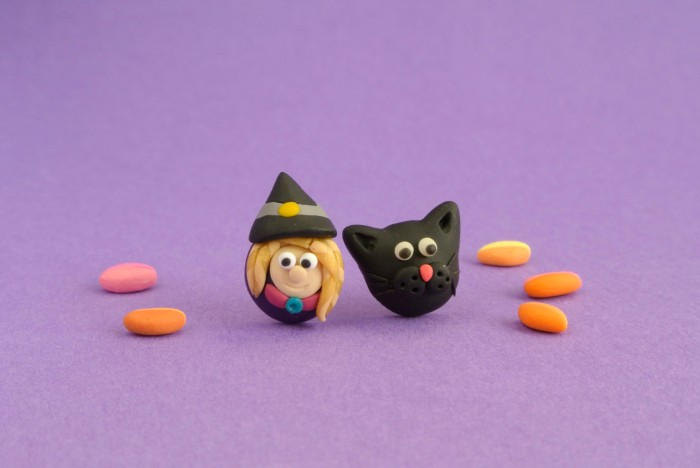 Witch and Black Cat post earrings