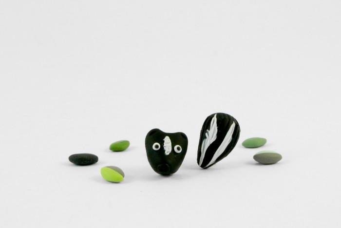 Skunk post earrings in their final version