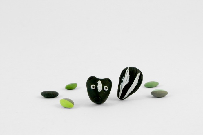 Skunk post earrings in their final version