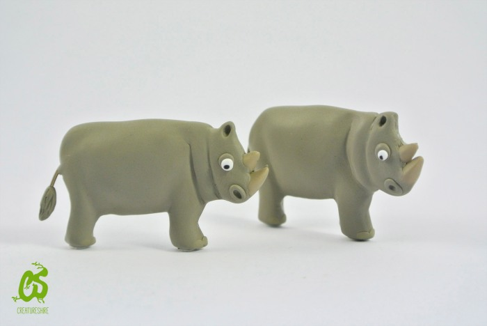 White rhino, brooch