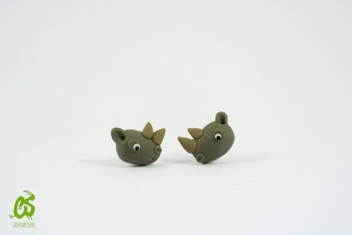 White rhino, earrings