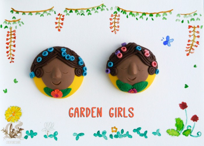 Garden girls brooches