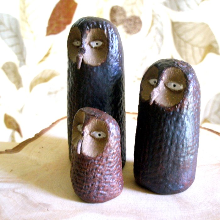 Stoneware Rusty Owl Trio Sculptures, Image Credits   by Studio by the Forest