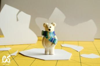 The polar bear testing the berg