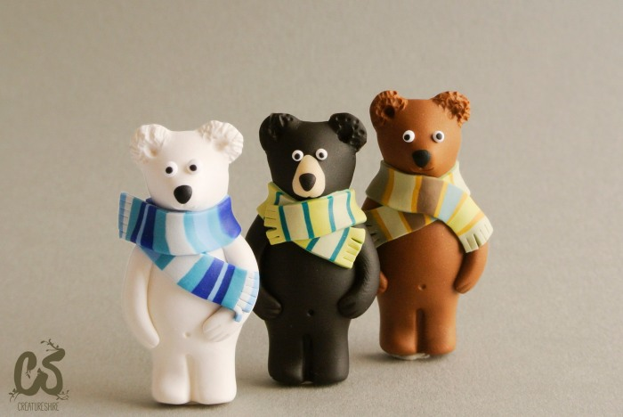 Polar, black and grizzly bears, brooches