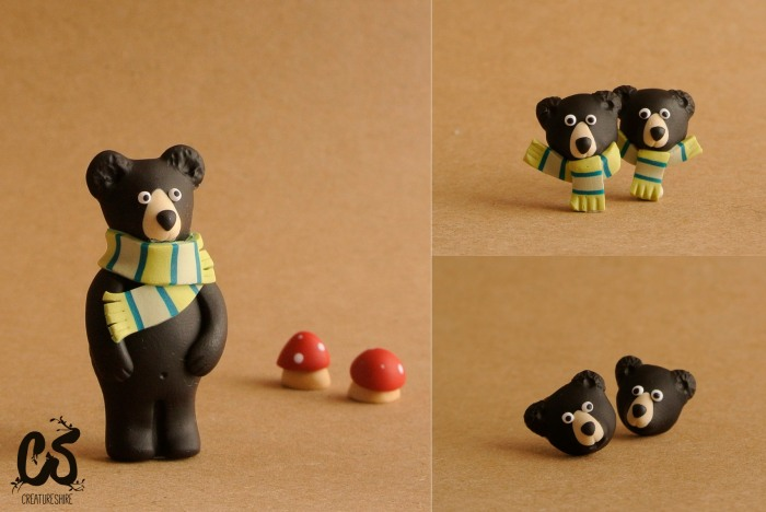 Black bear series, brooch and earrings