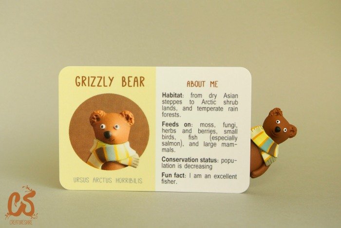 Collectible creature card featuring the grizzly bear