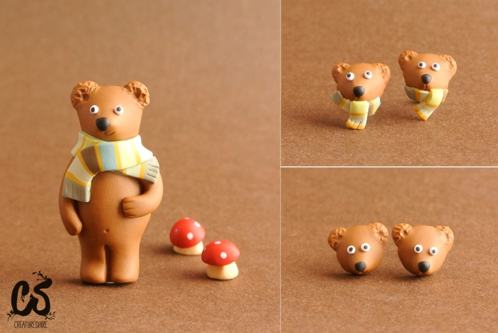 Grizzly bear series, brooch and earrings