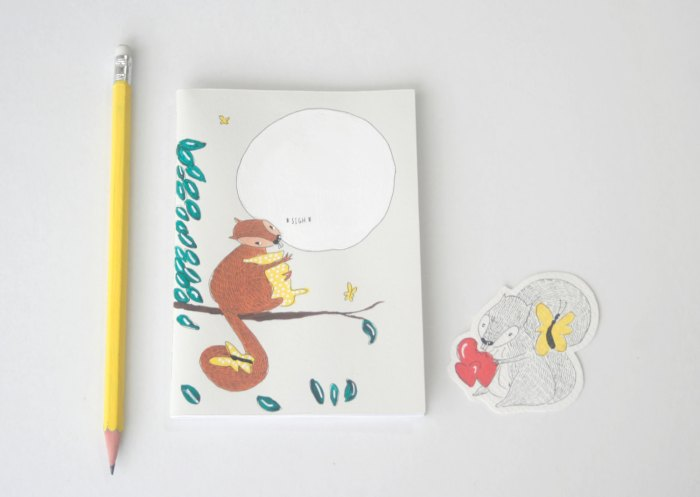 Squirrel looking dreamy at the moon, notebook. Image credits by Nuts for Paper