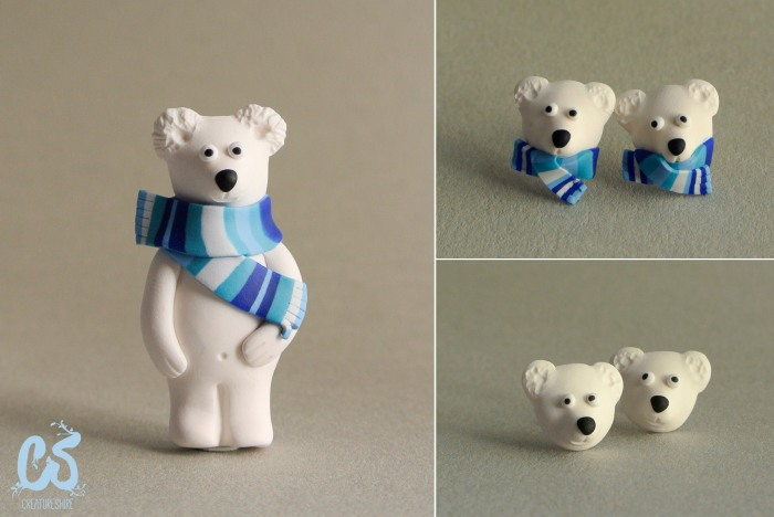 Polar bear series, brooch and earrings