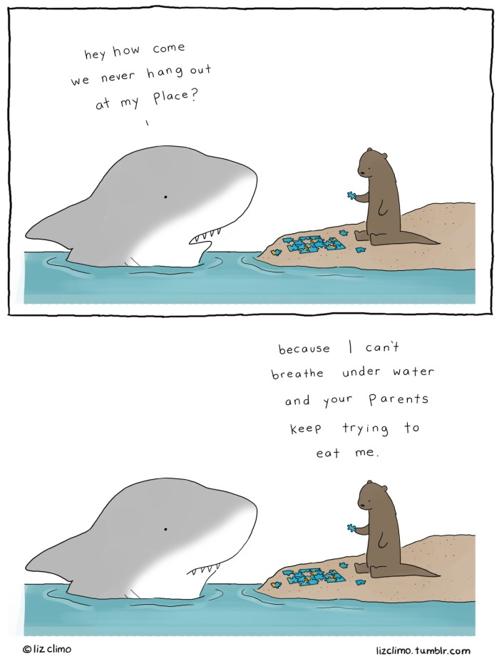 Playtime for a shark and an otter. Image credits by Liz Climo