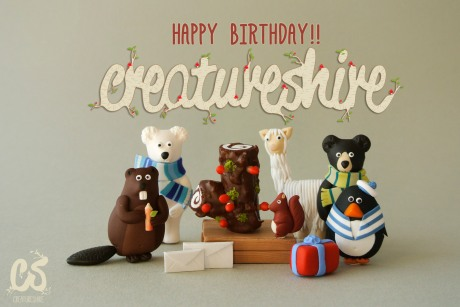 Some of the creatures could't resist the log shaped cake to celebrate!
