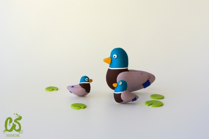 Spring collection - mallard ducks, brooch and earrings