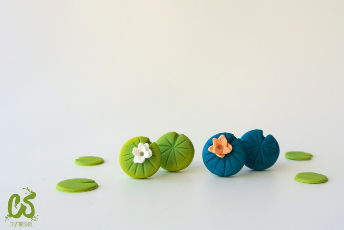 Spring collection - water lilies mismatched earrings