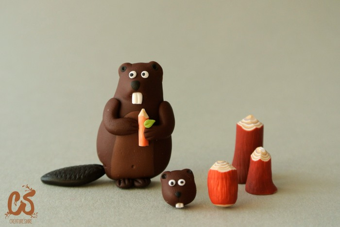 The beaver collection, with brooches and earrings happily munching on tender logs