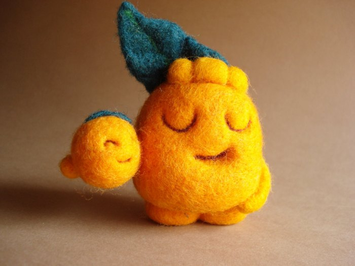 Tommy Orange and his baby brother Felted fruit Art Toy by Maria Filipe Image credits by the Fabulous Creations of Maria Filipe